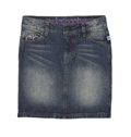 Denim Skirt - Distressed Medium Wash w/ Built-In Shorts